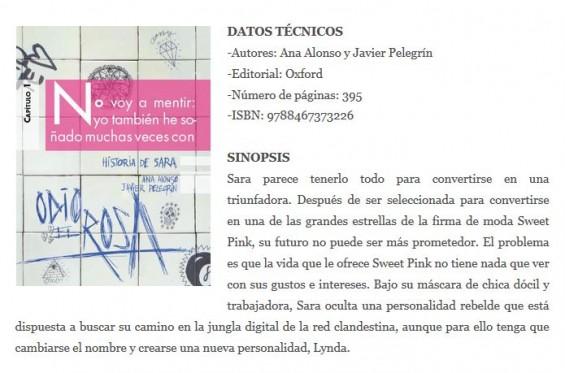 """reseña historia de sara """"el diario de antonio"""""""