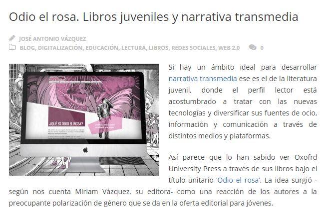 Artículo de DosDoce sobre Odio el Rosa y narrativa transmedia